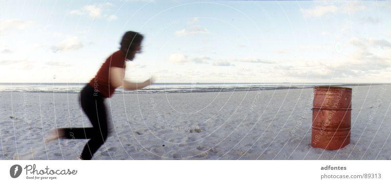 Ocean Joy Beach Movement Dance Coast Large North Sea Panorama (Format) Keg Lower Saxony Schillig