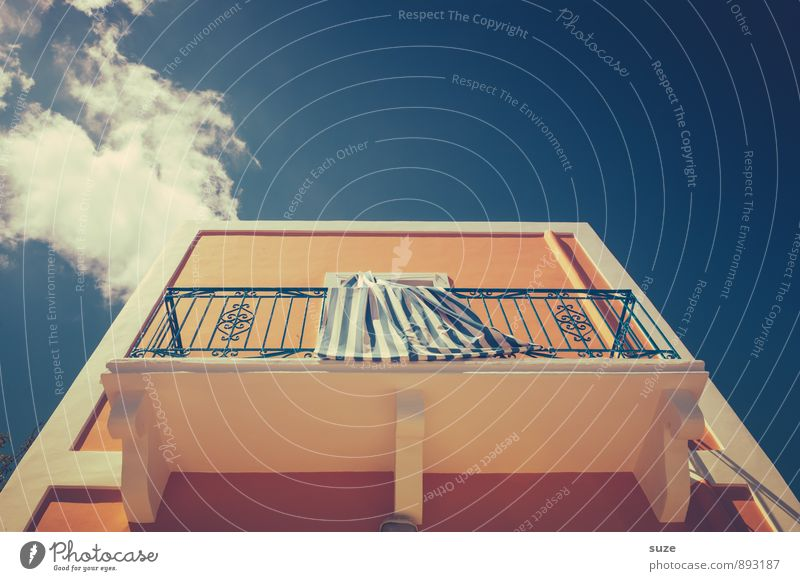 Looking up Style Design Vacation & Travel Living or residing Decoration Culture Sky Clouds House (Residential Structure) Building Architecture Wall (barrier)