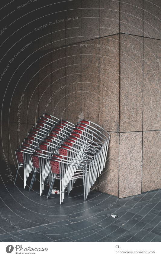 group feeling, stackable Wall (barrier) Wall (building) Chair Gloomy Orderliness Arrangement Break Closing time Café Restaurant Many Colour photo Exterior shot