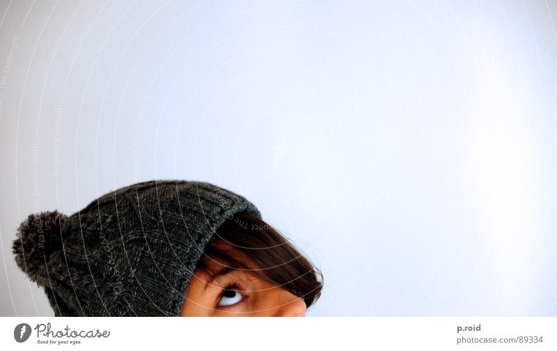 at the bottom of everything. Under Cap Woman Tuft Expectation Sweet Good luck White Winter Cold Calm Tip of the nose Half Baseball cap Gray Dreamily Hope