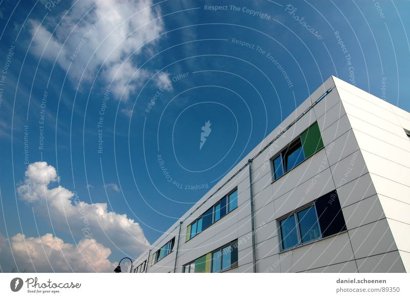 Sky Blue White Green Summer Clouds House (Residential Structure) Window Facade Cyan New building