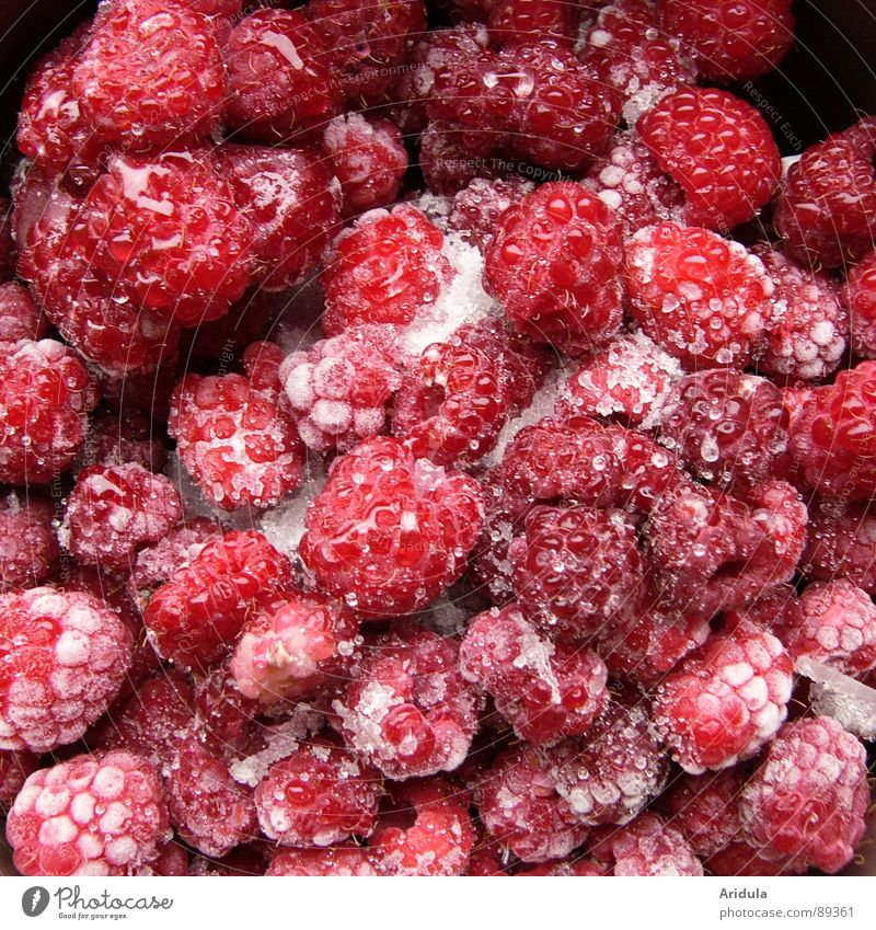 icy fruits Raspberry Frozen Thaw Delicious Red Summer Vitamin Healthy Fruit Ice Nutrition