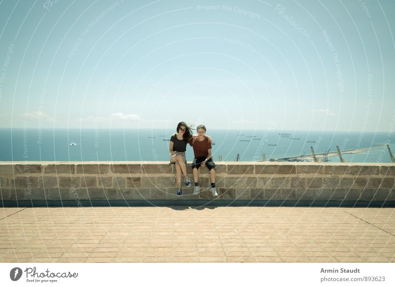 On the wall Lifestyle Summer vacation Human being Masculine Feminine Youth (Young adults) 2 13 - 18 years Child Landscape Sky Ocean Barcelona Port City Castle