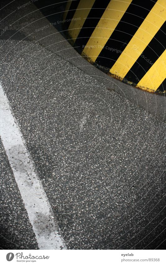 White Black Yellow Street Gray Line Dirty Concrete Transport Industry Dangerous Threat Stop Stripe Border Signage