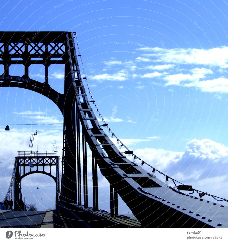 Employee-friendly bridge days | Clouds White Dark Black Europe Wilhlemshaven Iron Beautiful Exterior shot Bridge Germany Sky Bright Blue iron bridge Metal