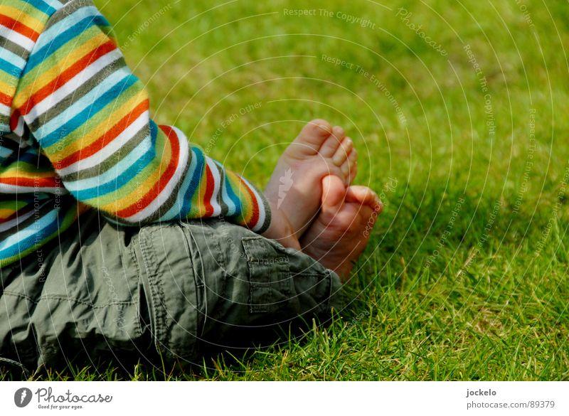Casual Grass Child Green Sunday Summer Spring Stripe Multicoloured Toddler Joy easy Feet Linus Contentment yomam