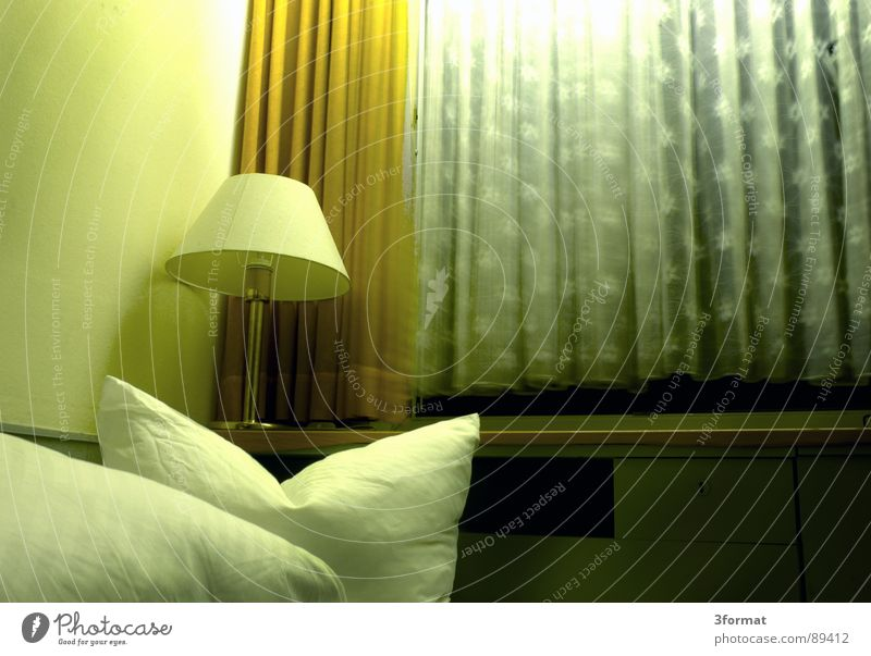 sad night01 Hotel Night Sleep Hotel room Bed Window Drape Room Bolster Furniture Bedclothes Loneliness Doomed Grief Distress Gloomy Gray Divide Twilight