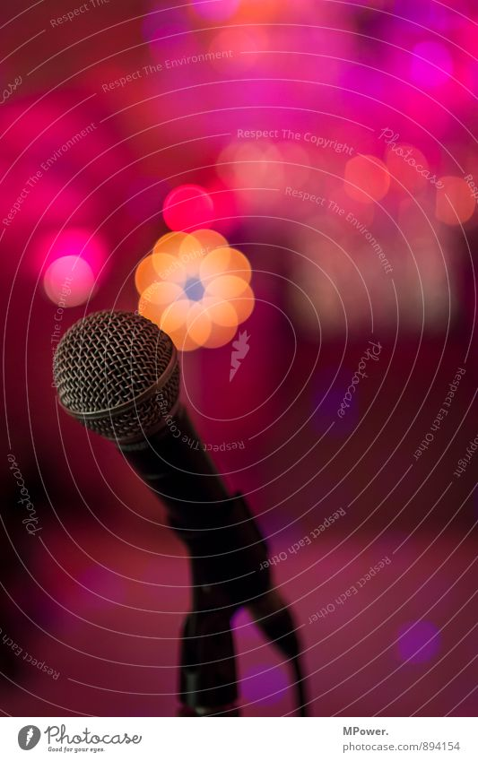 mic is on Hardware Cable Glittering Microphone Disco Stage Stage lighting Sing Music Musician Light Fairy lights Multicoloured Shows Party Sound Colour photo