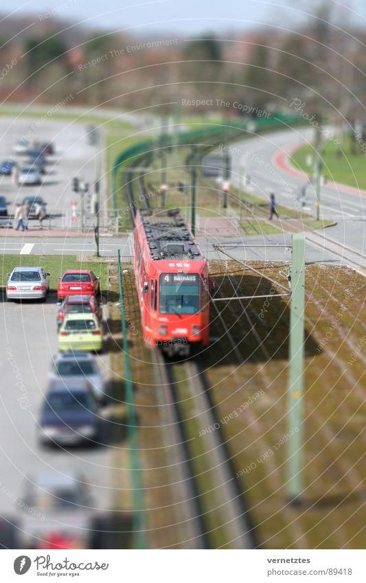 Miniaturized I Tram Railroad tracks Overhead line Parking lot Traffic light Model-making Miniature Toys Bielefeld Transport Train station Street Car Mixture
