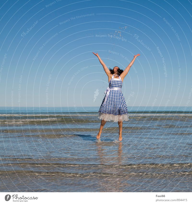 Human being Woman Blue White Water Summer Cold Adults Feminine Coast Funny Laughter Sand Jump 45 - 60 years Fresh