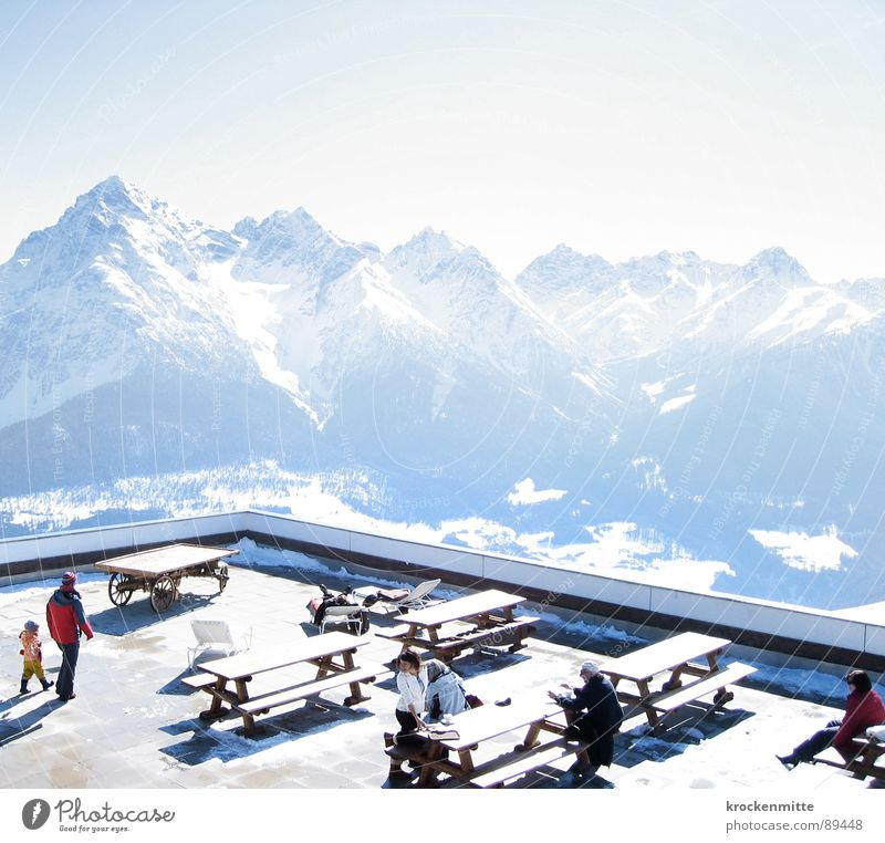 Human being Vacation & Travel Winter Adults Relaxation Nutrition Cold Snow Mountain Bright Sit Table Break Bench Switzerland To enjoy