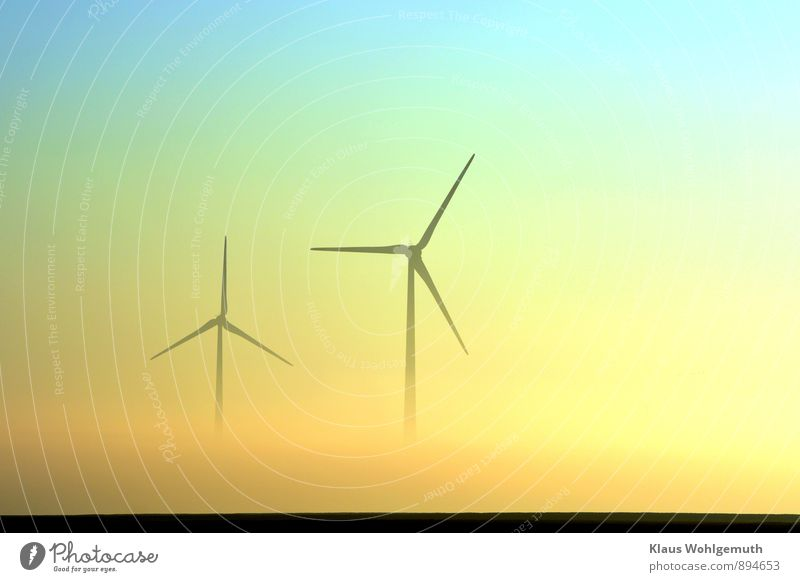 Blue Landscape Black Yellow Meadow Autumn Horizon Energy industry Field Fog Gold Beautiful weather Wind energy plant Turquoise Rotate Plain