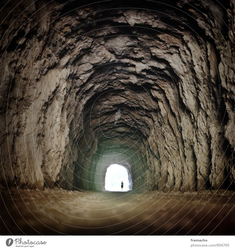tunnels Adventure Expedition Hiking Human being 1 Nature Elements Earth Rock Cave Tunnel Tunnel vision Stone Sand Discover Exceptional Threat Dark Fantastic