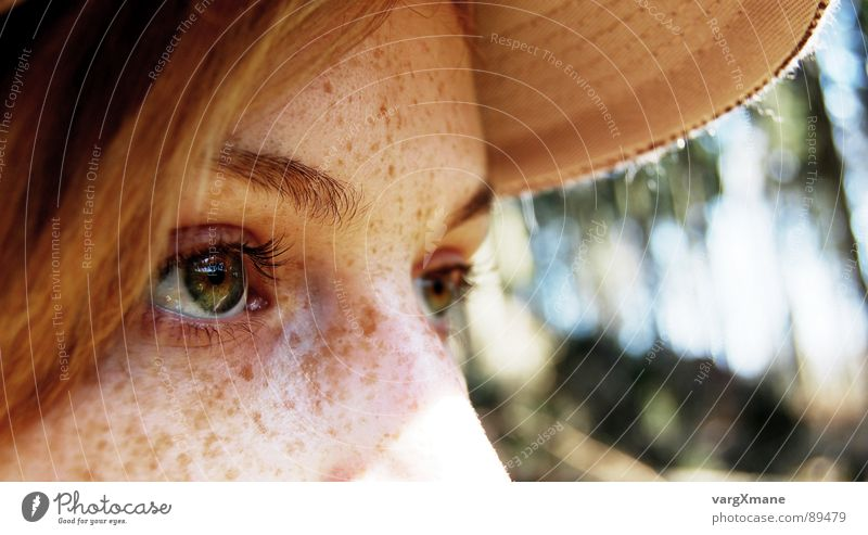 Woman Green Sun Face Eyes Warmth Dream Nose Relationship Freckles