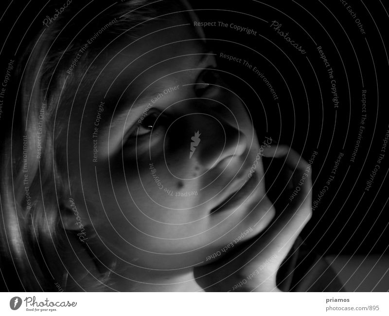 dreaming Woman Dreamily Human being potrait Black & white photo Near Face Eyes