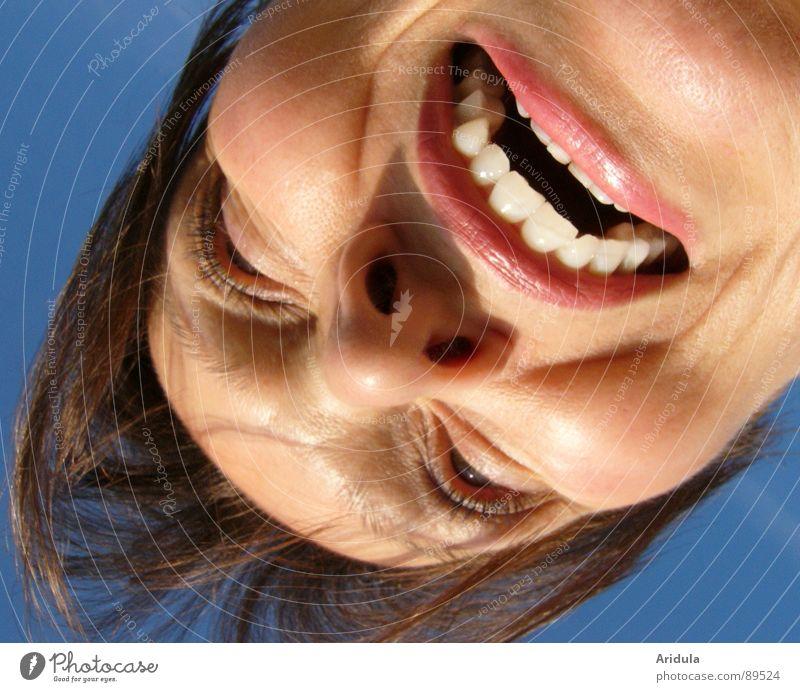Woman Sky Blue Face Mouth Fear Dangerous Teeth Threat Panic Grimace Bite Vampire