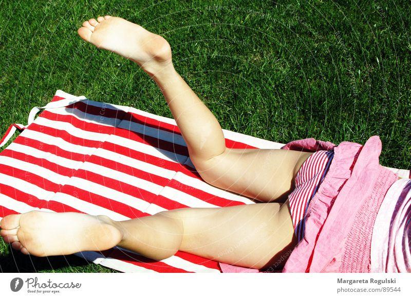Girl Summer Grass Spring Feet Legs Underpants Striped Bath mat