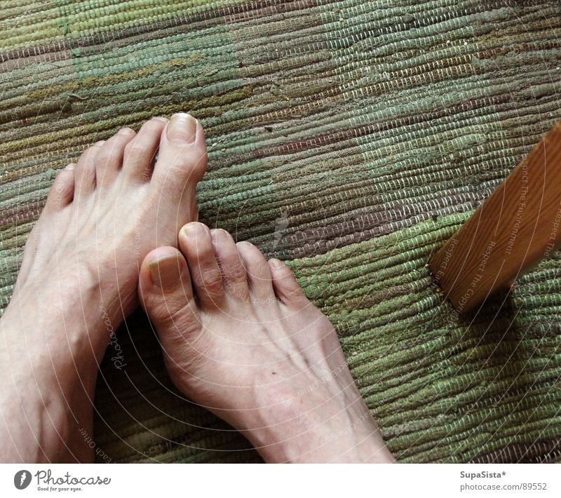 wait for the shower to clear Carpet Toes Feet table leg Skin Wait Morning want to take a shower Barefoot