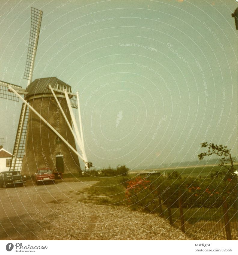 Old Summer Vacation & Travel Retro Wind energy plant Trashy Seventies Netherlands Amsterdam Mill