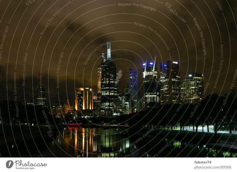 City Dark High-rise Skyline Australia Melbourne Night mood
