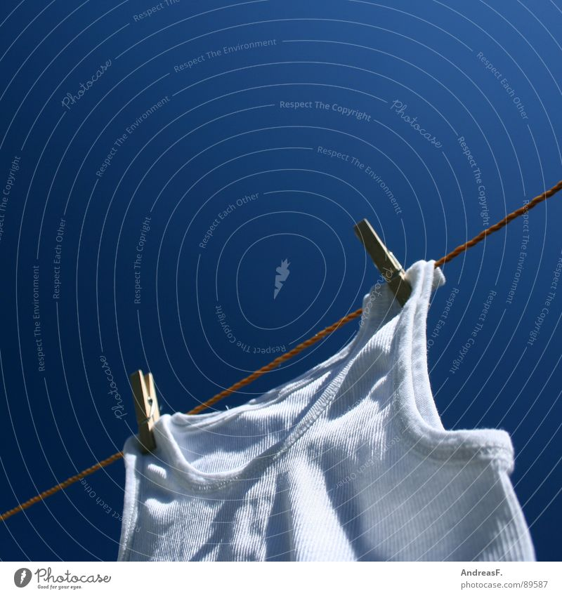 White Giant Laundry Dry Clothesline Washing day Washer Clothes peg Holder Undershirt Shirt Fine rib Underwear Clean Summer Physics Clothing Rope Sky Blue sky