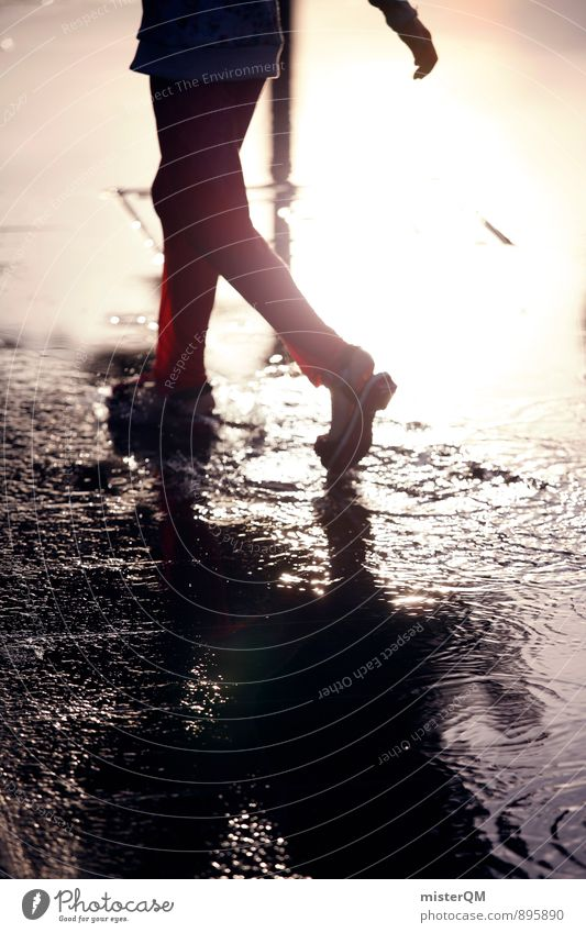 Child Water Red Autumn Playing Art Contentment Infancy Walking Esthetic Drops of water Running sports Pants Autumnal Puddle