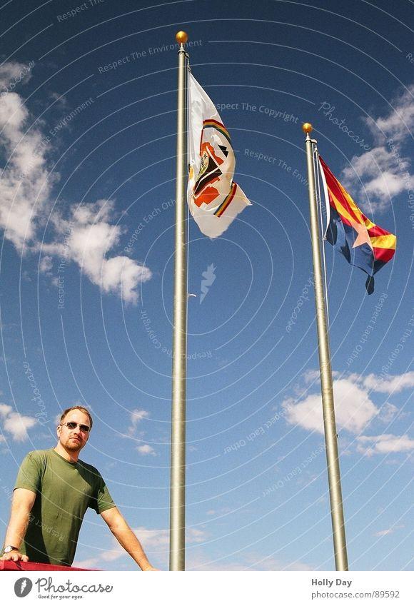 Around four corners... Vacation & Travel Speech 4 Utah Arizona New Mexico Nevada Flag Clouds Sunglasses Tourist Summer USA Success Four Corners Monument Sky