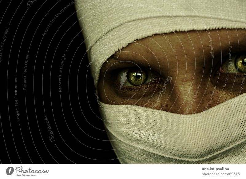 Woman White Green Eyes Fear Illuminate Cloth Whimsical Panic Packaged Bandage Bandage