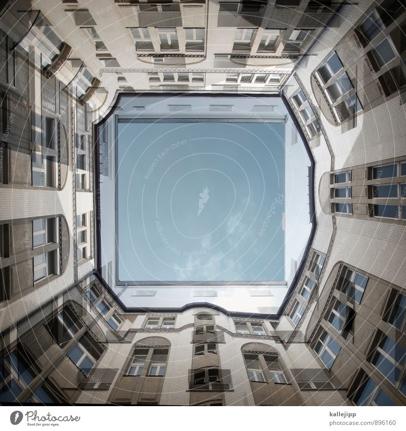O0 Town House (Residential Structure) Facade Window Living or residing Backyard Courtyard Tower block Colour photo Exterior shot Day Worm's-eye view