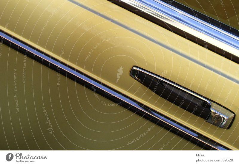 barrow Beautiful Industry Technology Window Means of transport Vehicle Car Metal Line Stripe Driving Glittering Gold Status symbol Car door Door handle Parallel