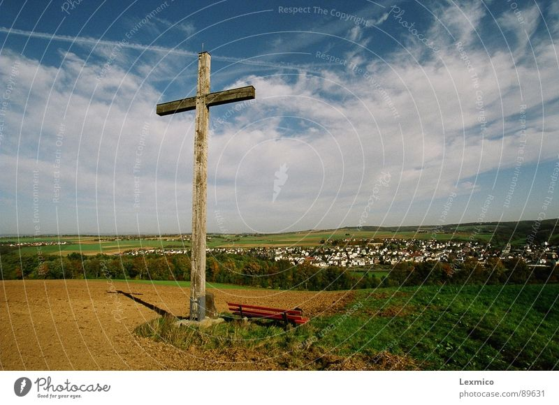 Ascension Religion and faith Christianity Autumn Agriculture Landmark Monument Sky Blue sky fair weather Landscape Back Shadow beautiful view believe in God