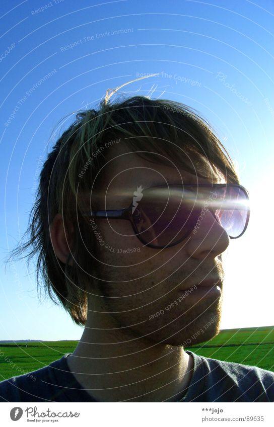 Sky Man Sun Joy Warmth Cool (slang) Eyeglasses Posture Physics Sunglasses Self portrait Designer stubble Unshaven Porno glasses