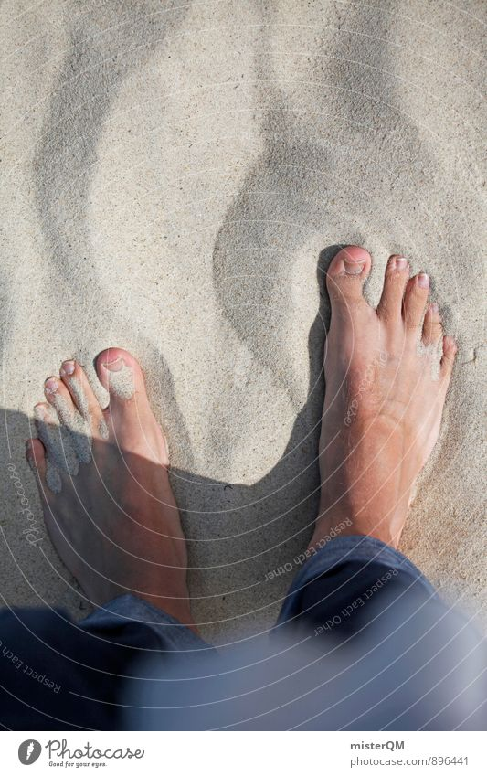 Baltic Sea. Art Esthetic Sandy beach Sandpit Grain of sand Beach Walk on the beach Feet Toes Jeans Beach dune Human being Relaxation Summer vacation Summery