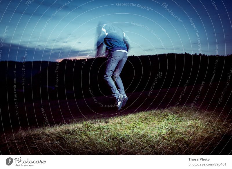freezing Masculine Body Back 1 Human being 18 - 30 years Youth (Young adults) Adults Nature Landscape Sky Horizon Summer Autumn Meadow Forest Hill Movement