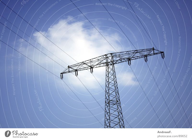 Sky Blue Clouds Industry Energy industry Electricity Cable Solar Power Electricity pylon Climate change High voltage power line