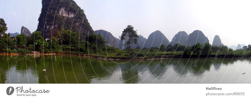 Sky Nature Green Landscape Loneliness Far-off places Mountain Meadow Grass Fog Perspective Vantage point Large Lawn River Asia