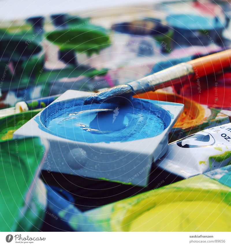 Water Green Blue Joy Yellow Colour Art Wet Painting (action, work) Creativity Attempt Paintbrush Mix Gaudy Characteristic Arts and crafts