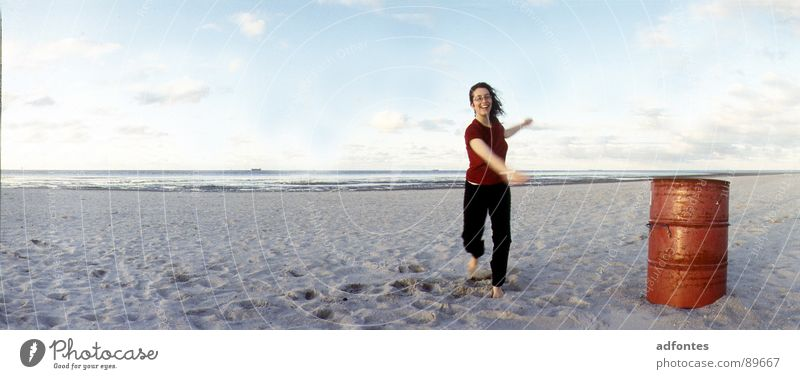 Woman Ocean Beach Dance Coast Large Horizon Panorama (Format) Keg