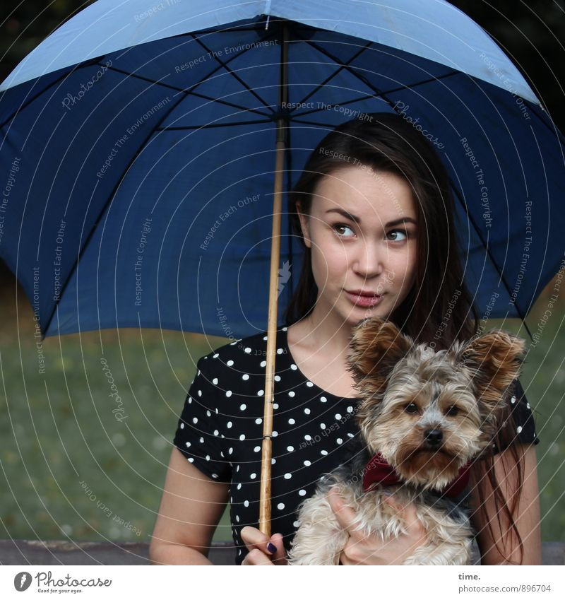 . Feminine 1 Human being 18 - 30 years Youth (Young adults) Adults Dress Umbrella Brunette Long-haired Animal Pet Dog Observe Looking Sit Joy Love of animals