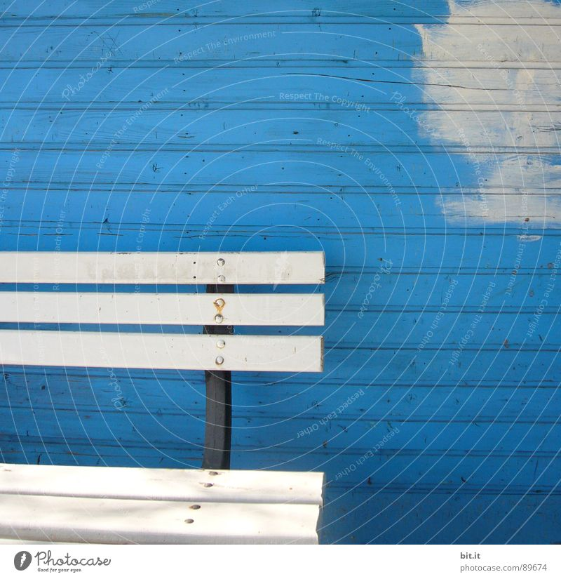 a beautiful spot on earth... Wooden wall Wooden bench White Cobalt blue Copy Space top Paintwork Redecorate Redevelop Section of image Partially visible Detail