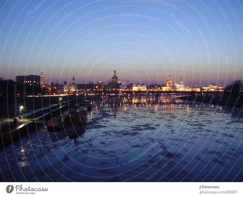 dresden old town in winter Dresden Winter Twilight Calm Architecture Old town Silhouette Elbe Ice Evening