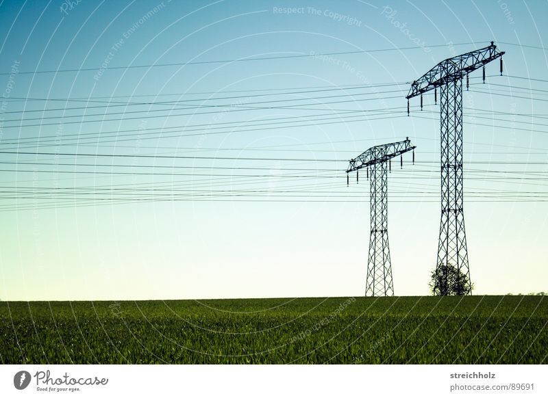 Long-distance current 2 Optimism Meadow Hope Village green Grass Range Green Common land Span Far-off places Resign Glade Extent Electricity pylon Steel