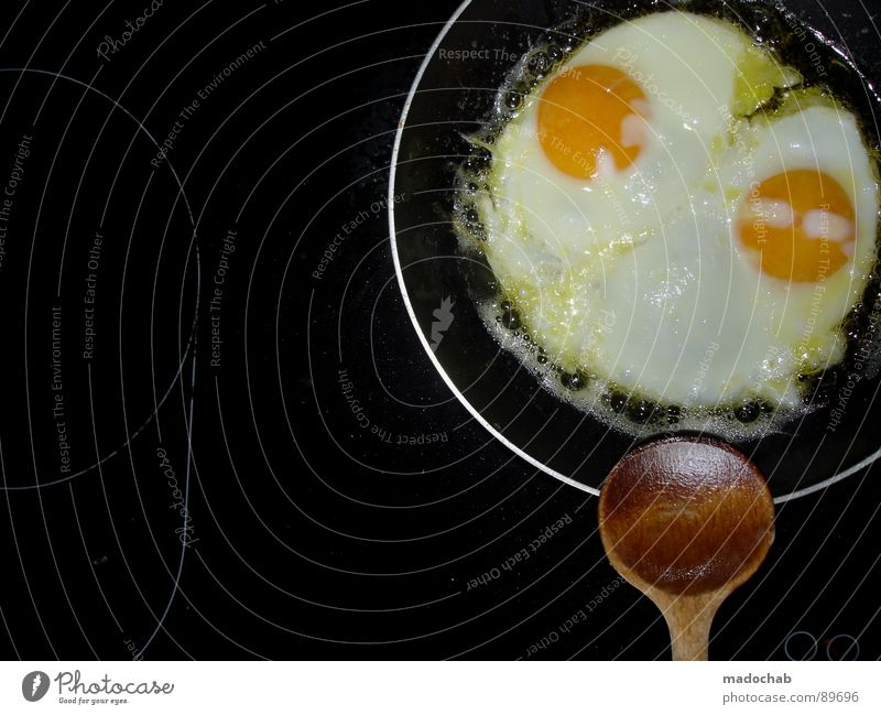 BREAKFAST YOU PIECE Fried egg sunny-side up Breakfast Dish Yolk Spoon Pan Nutrition Round Kitchen University & College student Circle Egg eggs Albumin Hot plate