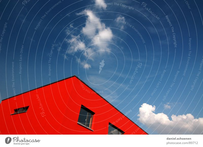 Beautiful weather Roof House (Residential Structure) Ecological Abstract Cyan Red Save energy Facade Quarter Window Clouds Background picture Sky Blue