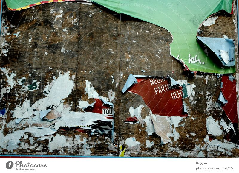 Old Wall (building) Wood Wall (barrier) Paper Broken Advertising Shabby Poster Adhesive