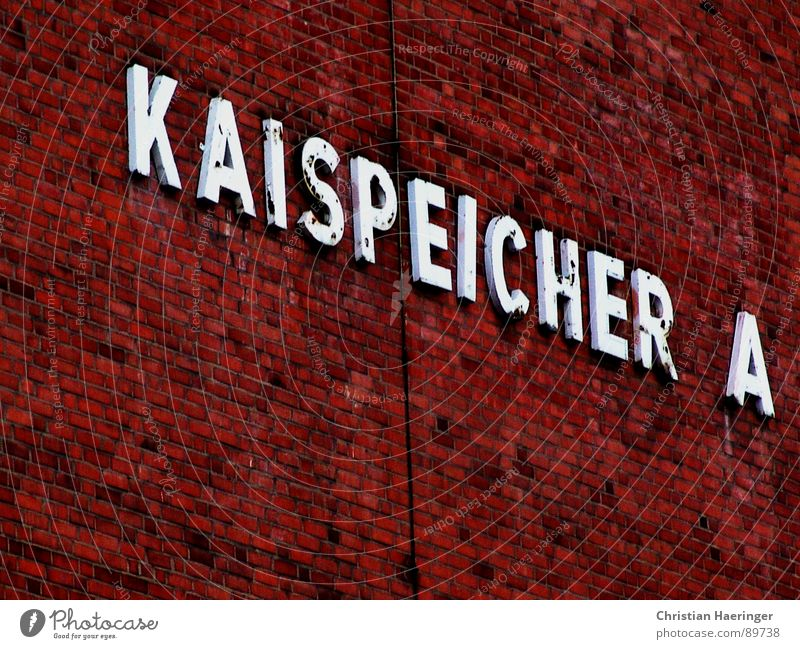 Kaispeicher A Harbor city Typography Letters (alphabet) Wall (barrier) Red Brick Detail Hamburg Elbe Harbour Orange Attic quayside storage