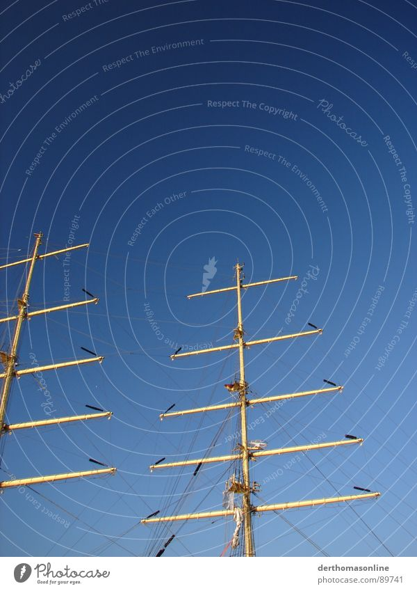 Sky Water Blue White Yellow Watercraft Fresh Rope Large Harbour Beautiful weather Navigation Electricity pylon Effort Sail Sailboat
