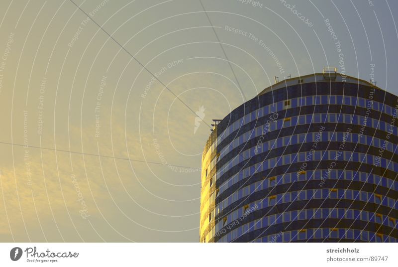turrets from Jena High-rise Window Vapor trail Sunrise House (Residential Structure) Round Store premises Modern Tower unit tower window wall Sky Blue Circle