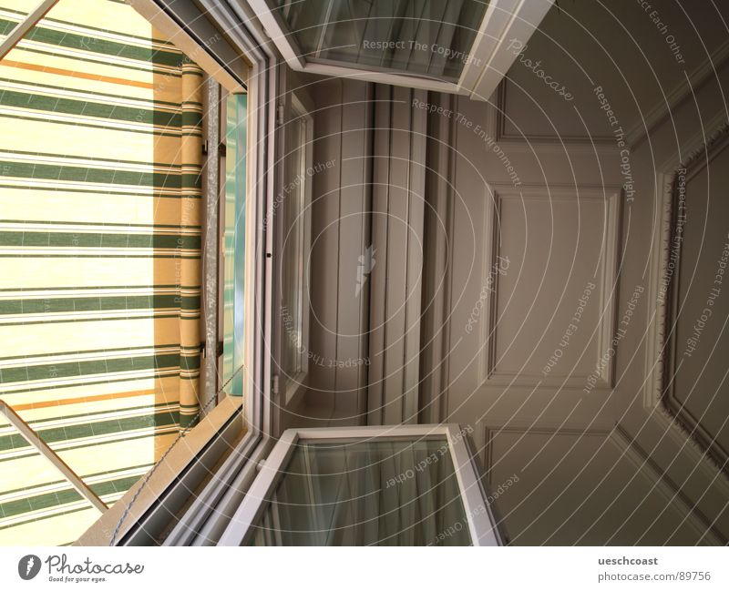ceiling Summer Room Window Balcony Under Stripe Boredom Blanket interrupt sun blinds balcony door Above stucco Gypsum Glass Open Bright Interior shot
