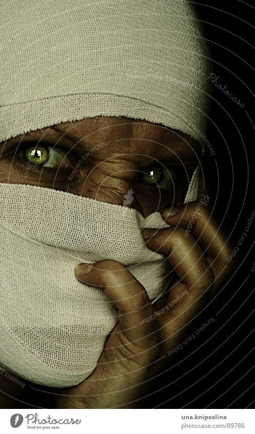 Woman Hand White Green Eyes Fear Crazy Illuminate Cloth Illness Whimsical Evil Soul Panic Bandage